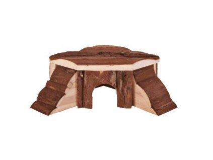 Dřevěný domek rohový THORDIS pro myši, křečky 21x7x19/19 cm