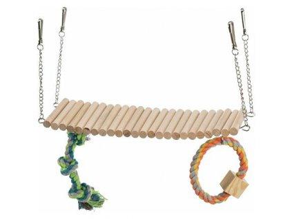 Závěsný žebřík s hračkou a lanem, pro křečky, dřevo/lano, 30 x 17 x 9 cm