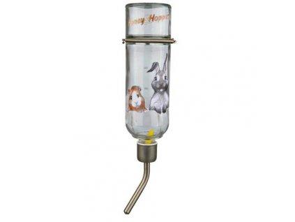 Skleněná napáječka Honey & Hopper s kovovým pítkem pro činčily a králíky 500 ml