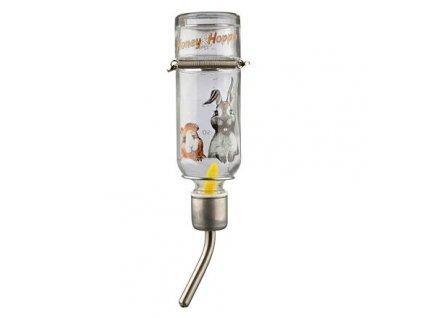 Skleněná napáječka Honey & Hopper s kovovým pítkem pro pískomily a křečky 125 ml