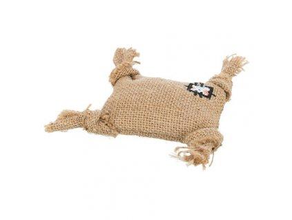 Jutový polštářek, hračka pro kočky s catnipem 10 cm