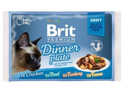 4473 brit premium cat delicate fillets in gravy dinner plate 340g 4x85g