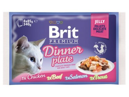 4449 brit premium cat delicate fillets in jelly dinner plate 340g 4x85g