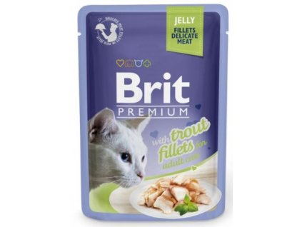 4446 brit premium cat delicate fillets in jelly with trout 85g