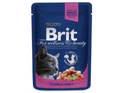 3066 brit premium cat pouches s lososem a pstruhem 100g