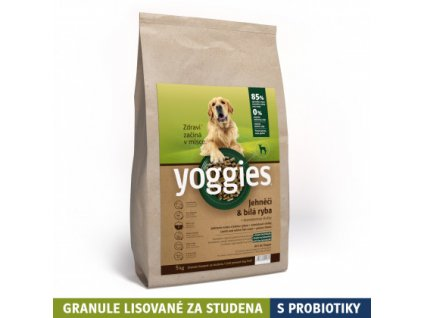 5 kg jehneci a bila ryba granule lisovane za studena s probiotiky yoggies