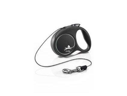 Vodítko FLEXI Black Design XS lanko 3m/8kg stříbrná