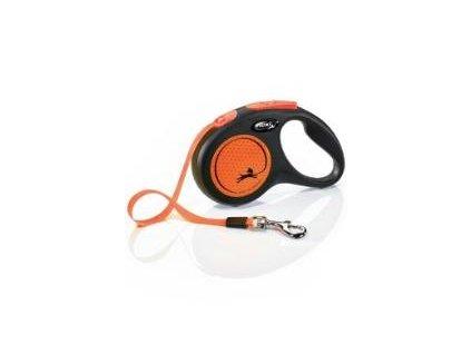 Vodítko Flexi NEON S 5m/15 kg pásek černá/oranžová