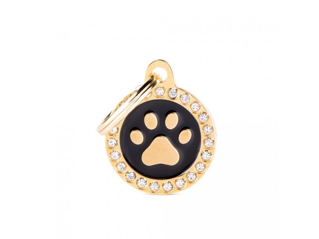 0031109 glam gold paw black circle strass id tag