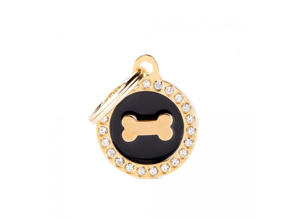 0031107 glam gold bone black circle strass id tag