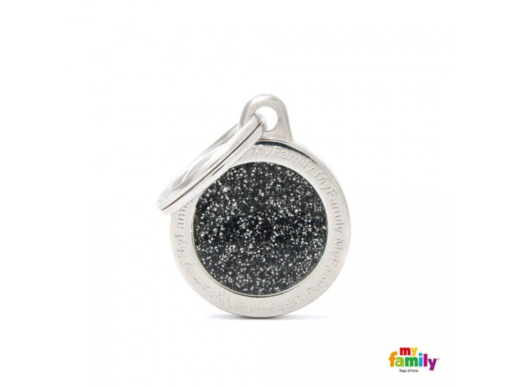 0028237 shine small circle black glitter id tag