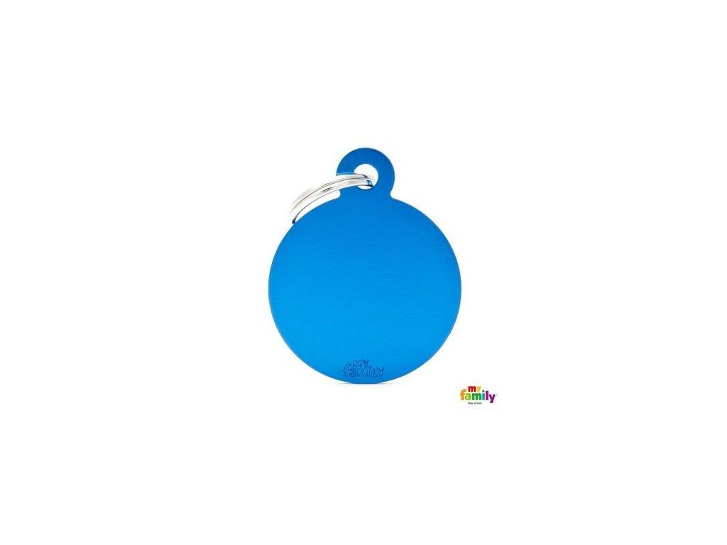 Psí známka MY FAMILY Hliníkový modrý kruh střední