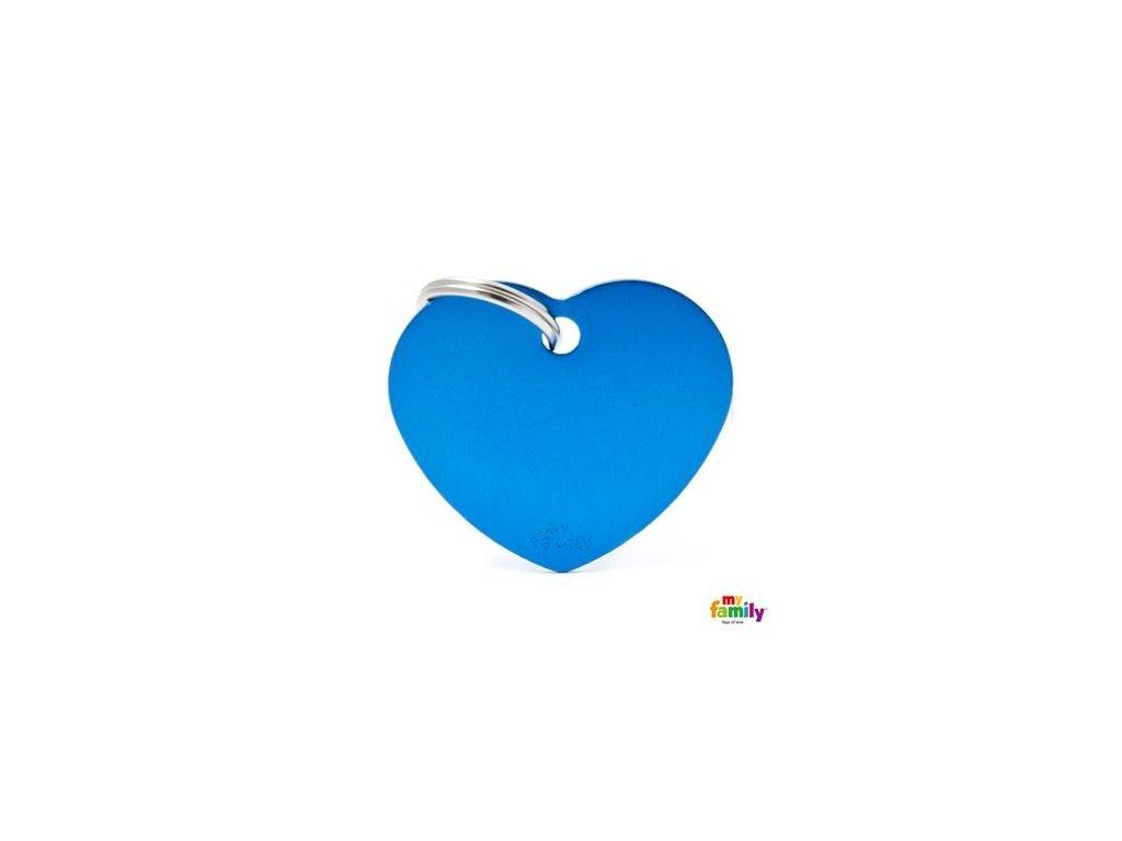 Psí známka MY FAMILY Hliníkové modré srdce střední