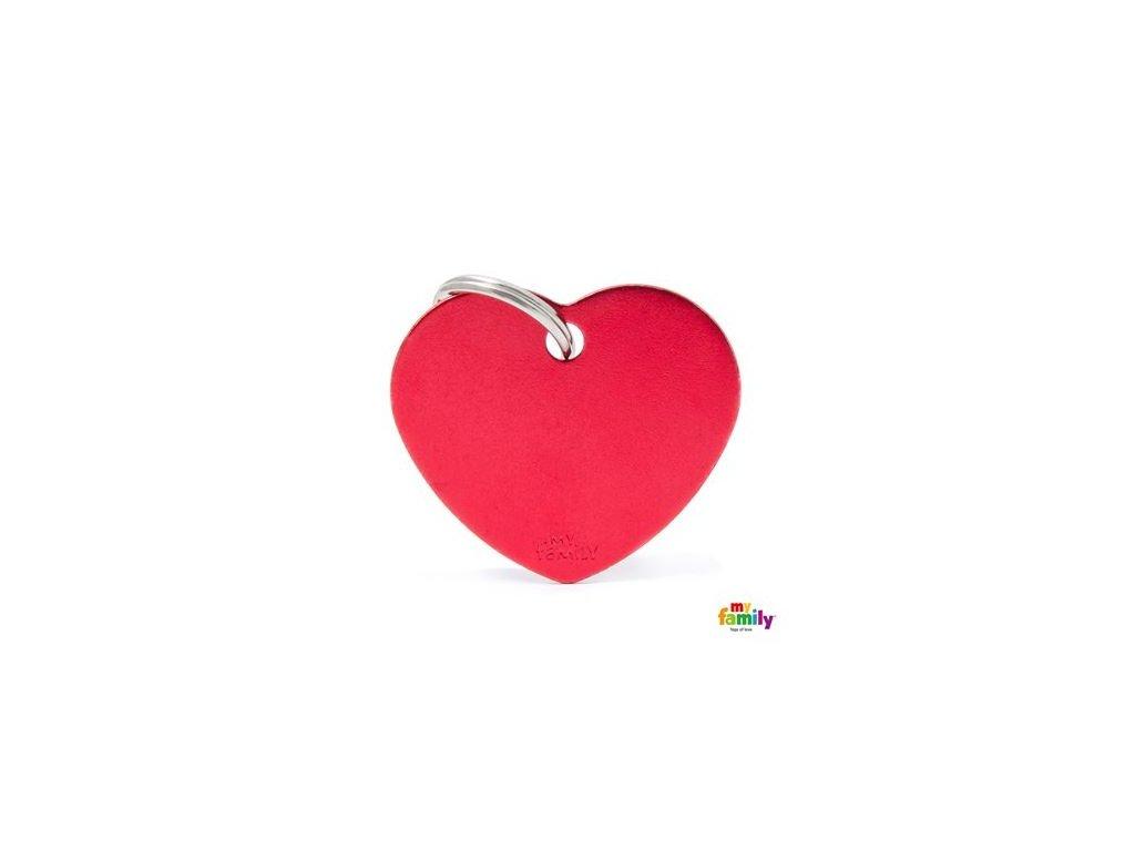 Psí známka MY FAMILY Hliníkové červené srdce