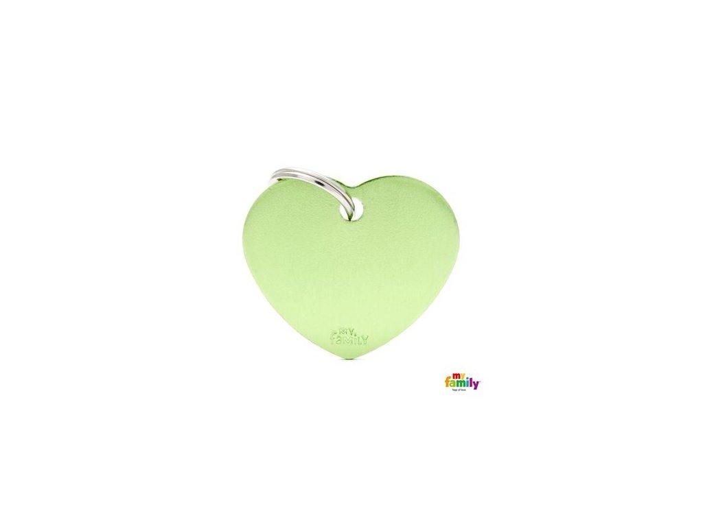 Psí známka MY FAMILY Hliníkové zelené srdce střední