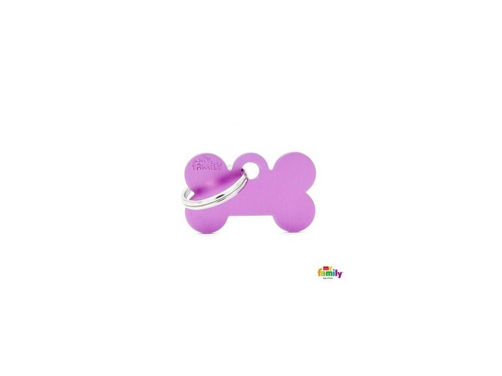 Psí známka MY FAMILY Hliníková fialová kost malá