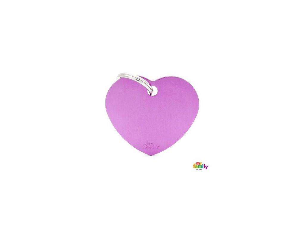 Psí známka MY FAMILY Hliníkové fialové srdce střední