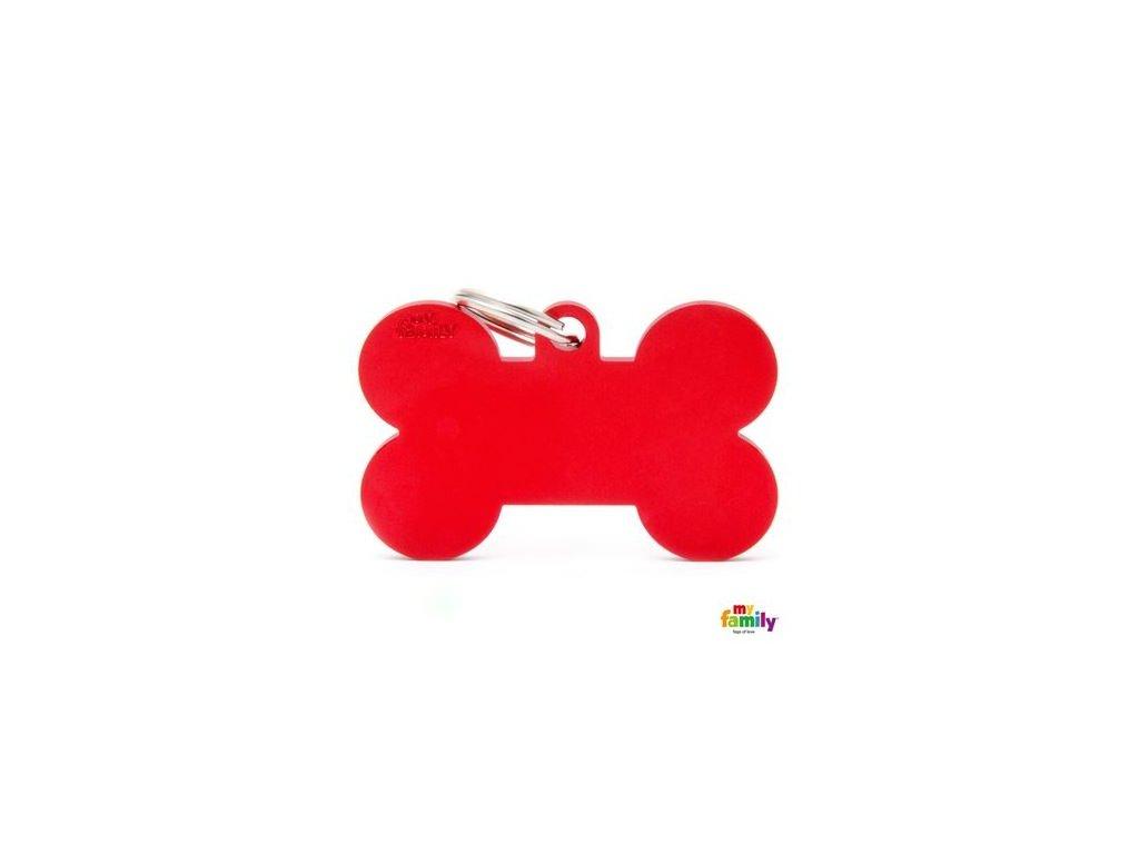 Psí známka MY FAMILY Hliníková červená kost XL