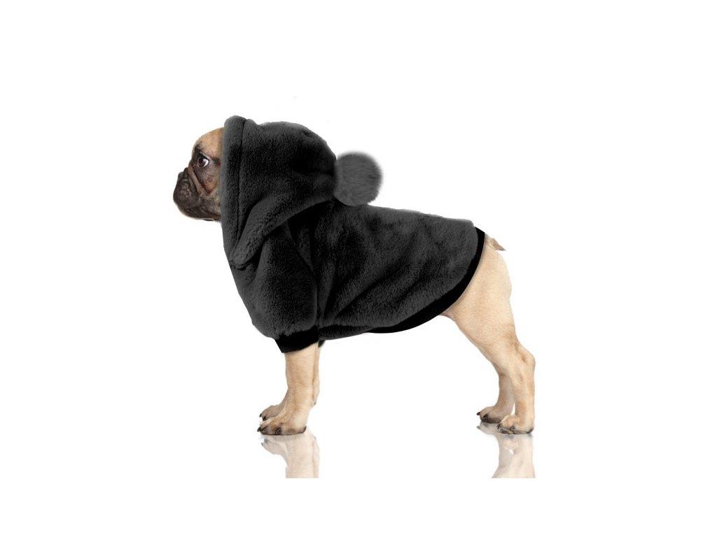 Černá mikina s kožíškem pro psy Yelena
