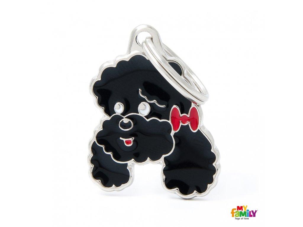 0027317 black poodle id dog tag