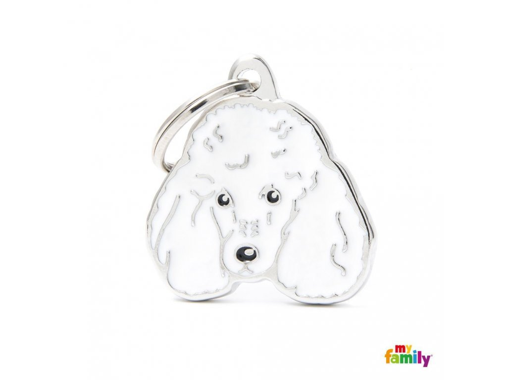 0029440 new white poodle id dog tag