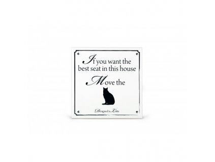 Keramická cedule Move cat bílá