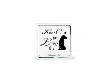Keramická cedule Love Dog bílá