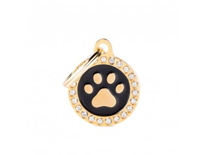 0031109 glam gold paw black circle strass id tag