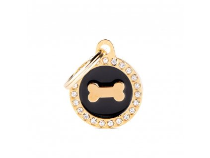 0031107 glam gold bone black circle strass id tag