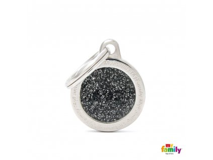 0028237 shine small circle black glitter id tag