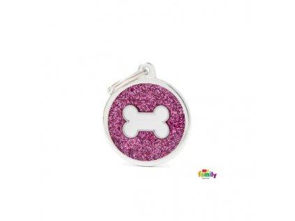 Známka pro psy a kočky MY FAMILY Růžový třpytivý kruh s bílou kostí