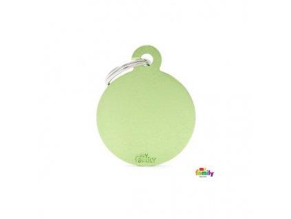 Psí známka MY FAMILY Hliníkový zelený kruh střední