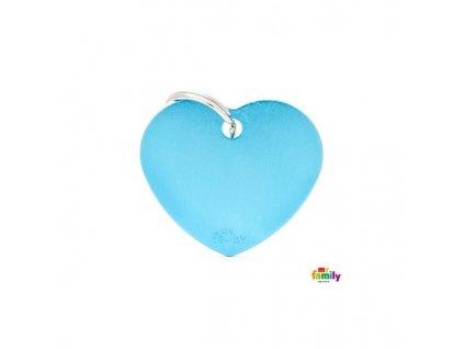 Psí známka MY FAMILY Hliníkové světle modré srdce střední