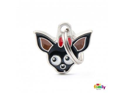 0027608 black chihuahua id dog tag
