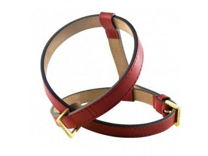 Kožený postroj pro psy FRIDA FIRENZE Plain červený