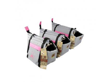 Huhubamboo taška šedá+růžová L