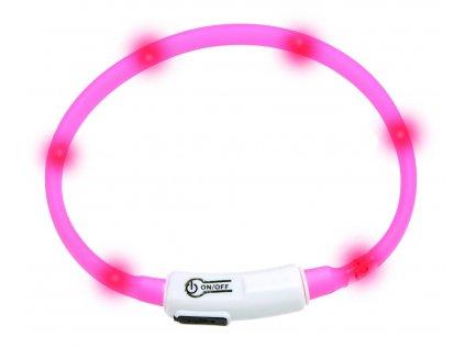 Karlie Visiolight svítící LED obojek 35 cm růžový