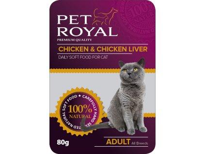 Kapsička Pet Royal Cat kuře+kuřece játra 80g
