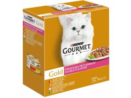 Gourmet Gold multipack (8 ks) - 7+1 zdarma - směs dušených a grilovaných masových kousků