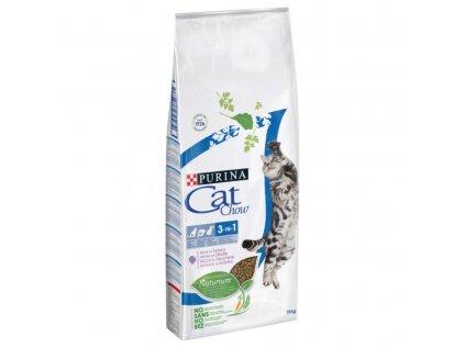 Purina Cat Chow 3 in1 s Naturium™ a s vysokým podílem krůty