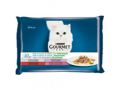 Kapsičky Gourmet Perle mini filetky ve štávě se zeleninou 4x85g