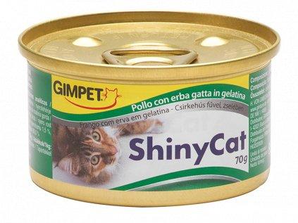 Konzerva SHINY CAT kuře+kočičí tráva 70g