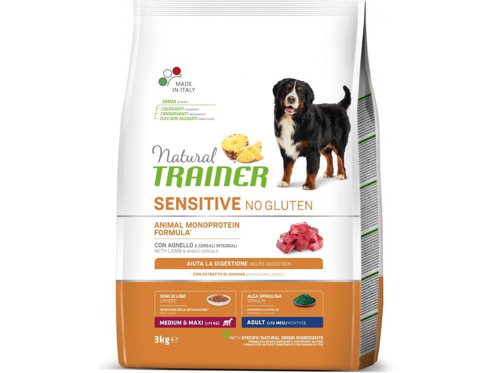 Trainer Natural Sensitive No glutén Adult M / M jahňacie 3kg