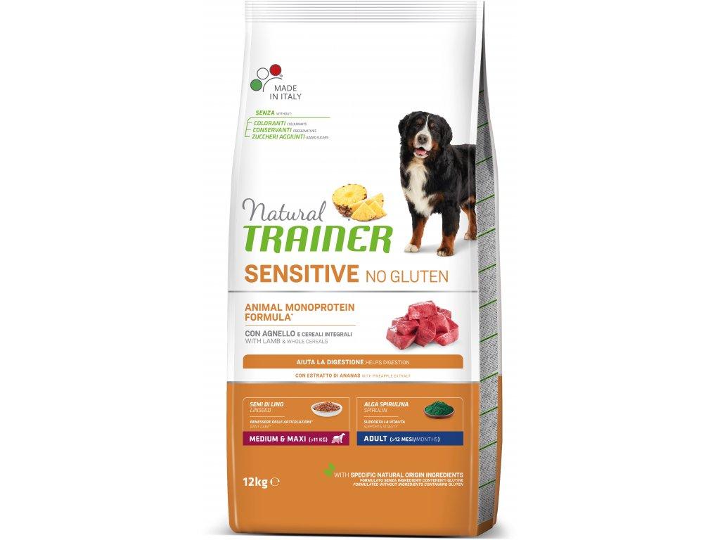 Trainer Natural Sensitive No glutén Adult M / M jahňacie 12kg