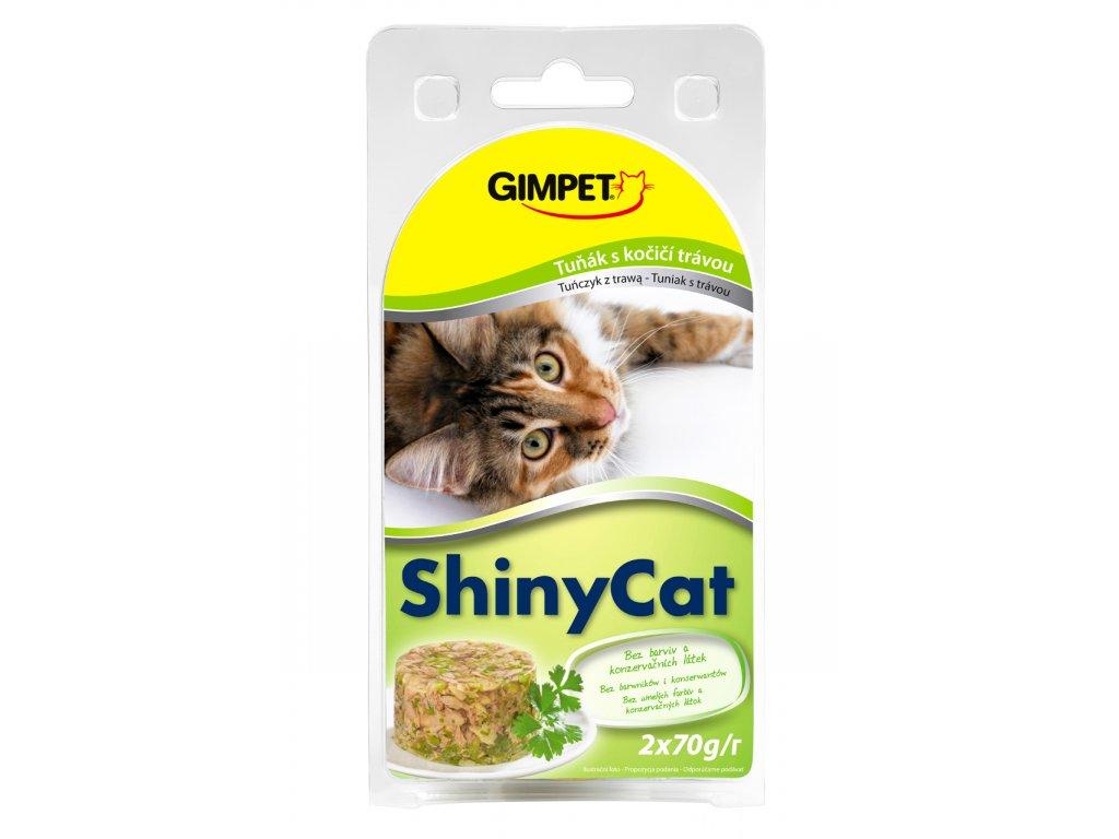 ShinyCat konzerva tuniak+mačacia tráva 2x70g