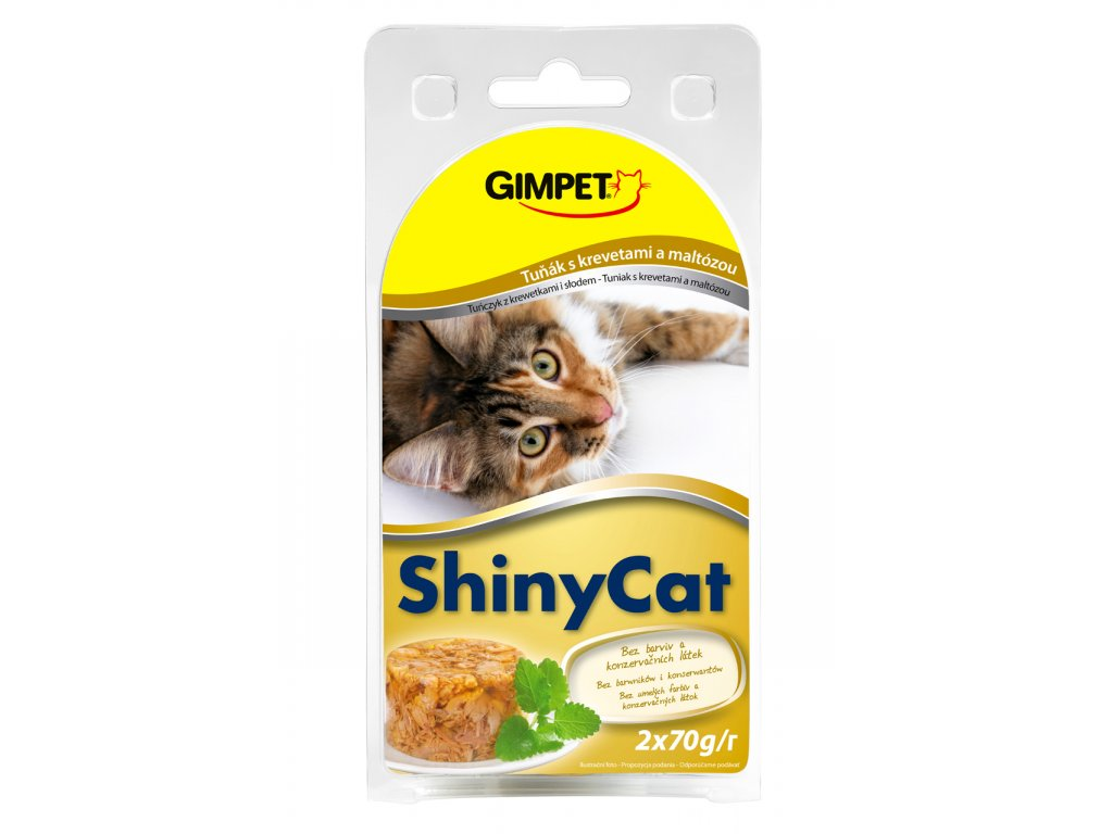 ShinyCat konzerva tuniak+krevety+maltóza 2x70g