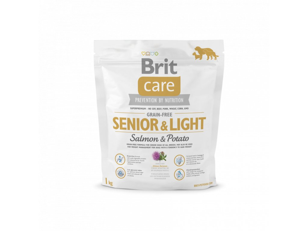 4284 brit care grain free senior light salmon potato 1kg