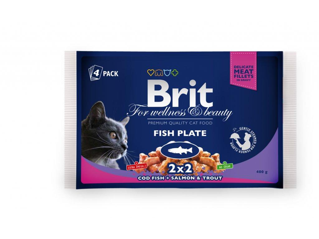 4359 kapsicka brit cat premium pouches rybi variace 4x100g