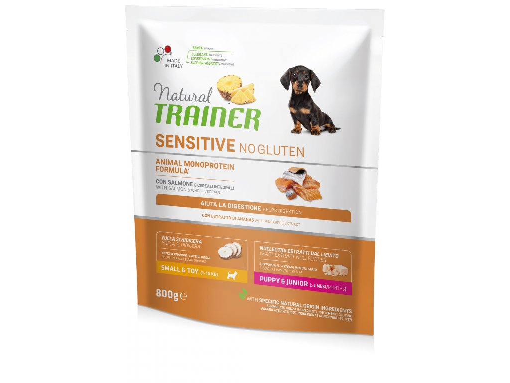 Trainer Natural Sensitive No glutén Puppy & Jun Mini losos 800g