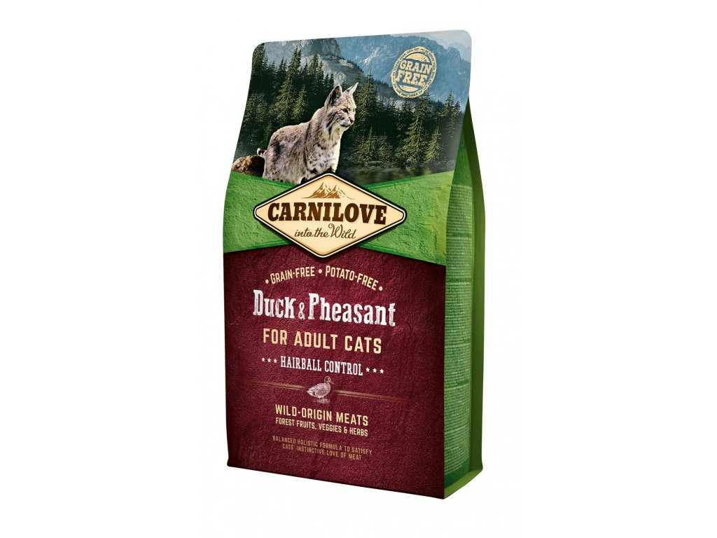 6591 carnilove cat grain free duck pheasant adult hairball control 2kg